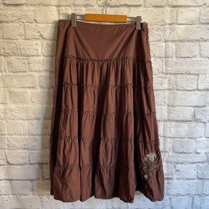 RIP CURL Brown Bohemian Midi Skirt